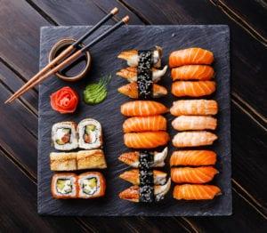 Sushi on Black Stone Slate