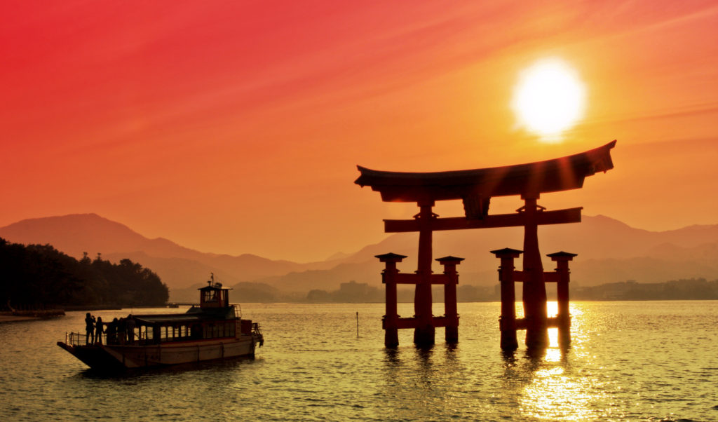 Sunset and Torii Gate in Japan